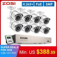 ZOSI H.265 8CH 5MP Kit de sistema de cámara de seguridad de POE 8 Uds 5MP Super HD IP Cámara impermeable al aire libre CCTV Video Vigilancia Conjunto NVR