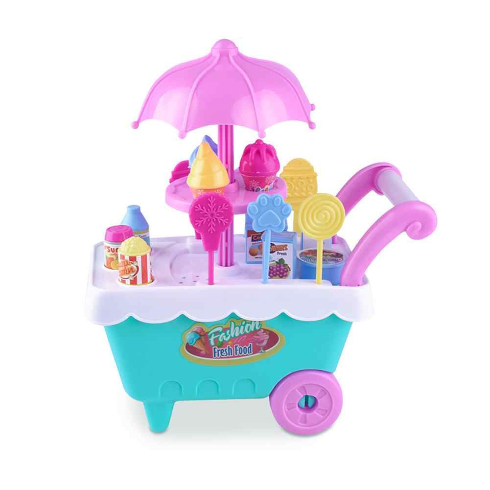 Mini ice cream trolley Lovely Simulation Candy Lollipop Ice Cream Plastic Trolley Children Girls Toy  smooth and durable