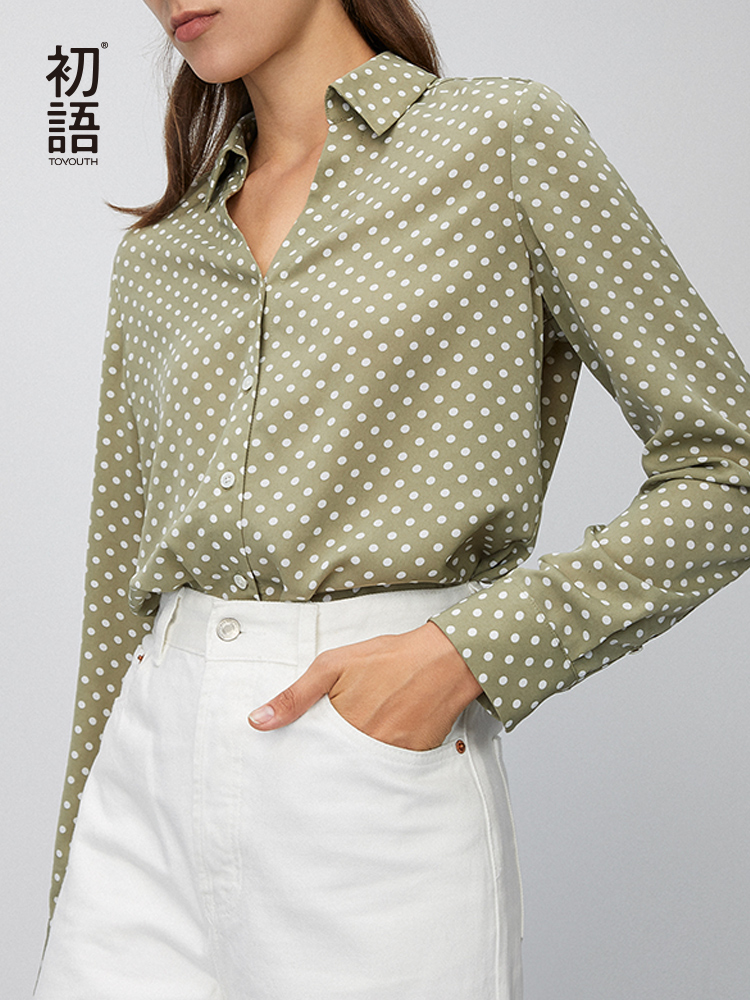 Toyouth 2020 Sring Fashion Round Point V-neck Shirt Blouse Loose Temperament Comfortable Chiffon Shirt Blouse For Female