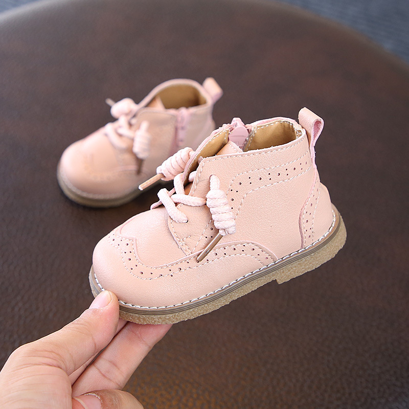 Image 3 - Claladoudou 12 16cm brand toddler boots pink beige black pure Pu leather shoes princess  retro party shoes for girls ankle boots-in Boots from Mother & Kids