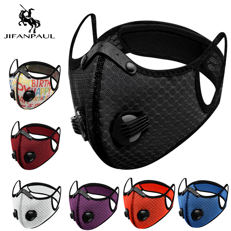 JIFANPAUL Cycling mask with filter anti-pollution cycling mask activated carbon breathing valve bicycle face masks mascarillas