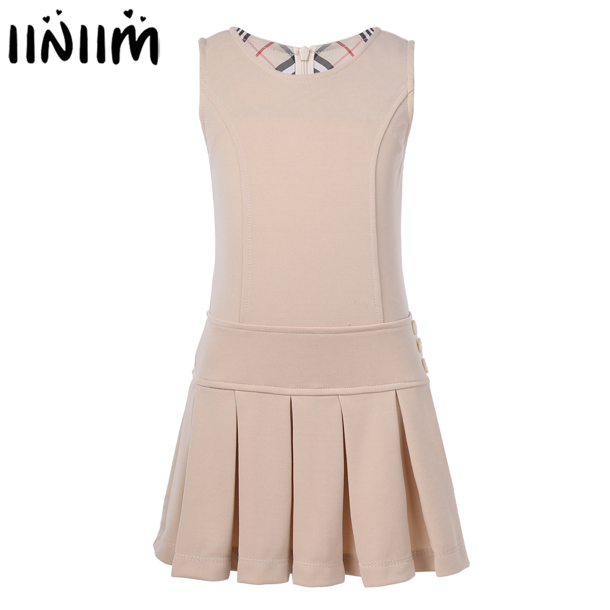 Iiniim Kids Girls Sleeveless School Uniforms Pleated Hem Dress Jumper With Decorated Buttons For Party School Casual Dress
