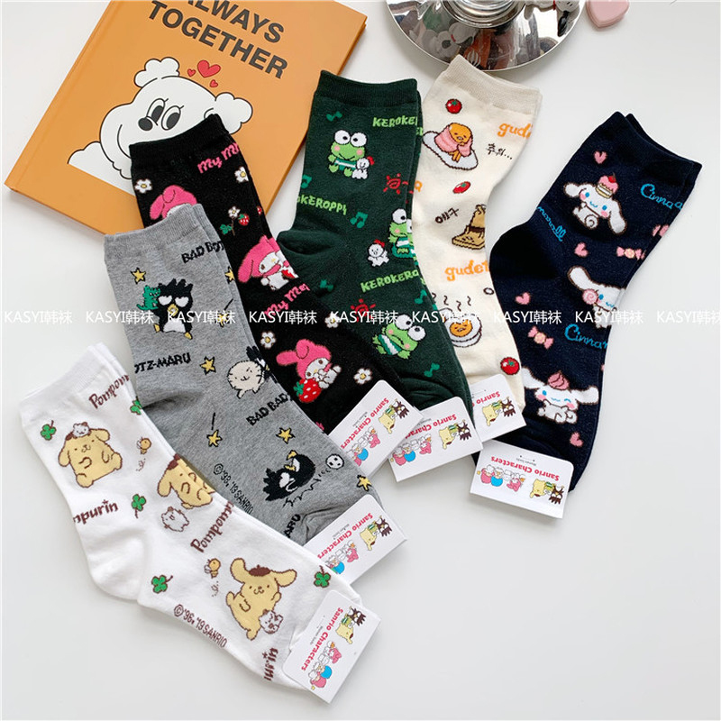 Cartoon Pom Pom Purin Print Socks Gudetama Travel Frog Cinnamoroll BabyCinnamoroll Bad Badtz Maru Cute Funny Women Cotton Sock