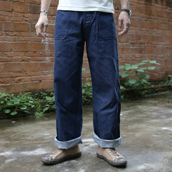 1917 bronson 11oz indigo selvage unsanforised hombre indigo selvage sin lavar materias primas de jean denim azul marino pantalones de trabajo