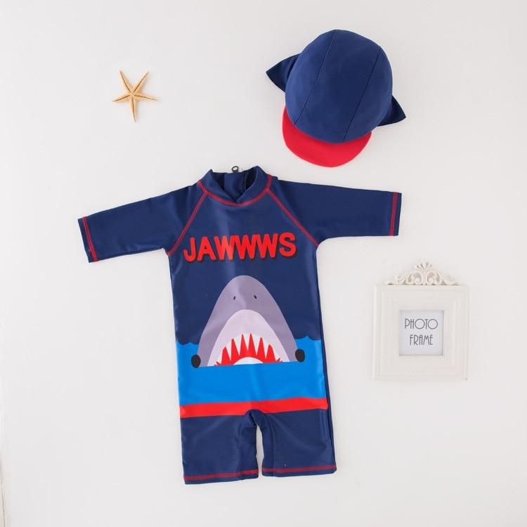 Men's One-piece Swimming Suit Blue Shark-KID'S Swimwear Hot Springs Clothing
