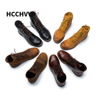 New Mens Boots Motorcycle Handmade Genuine Leather Business Wedding Boots Casual British Style Wine men Boots leather