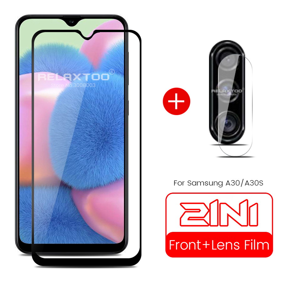 2-in-1 protective glass for samsung a30 a30s m30 s 2019 camera lens case cover for samsung galaxy a 30 s 30s a305f a307f 6.4''