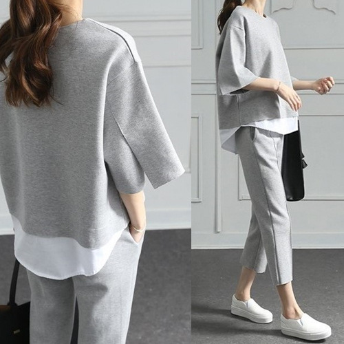 Autumn tracksuit for women fashion office lady sports suit loose casual warm home clothes large 2 piece set wide trousers women