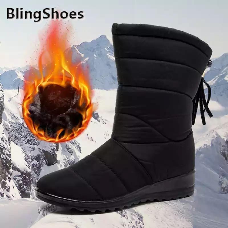 2021 обувь для женщин; Теплая зимняя обувь на меху; Зимние сапоги Водонепроницаемый зимние сапоги; Женские сапоги до середины икры размера плю...