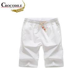 Marca de crocodilo calções masculinos 2021 verão bezerro-comprimento masculino boardshorts 100% algodão praia shorts cintura elástica bottoms curto