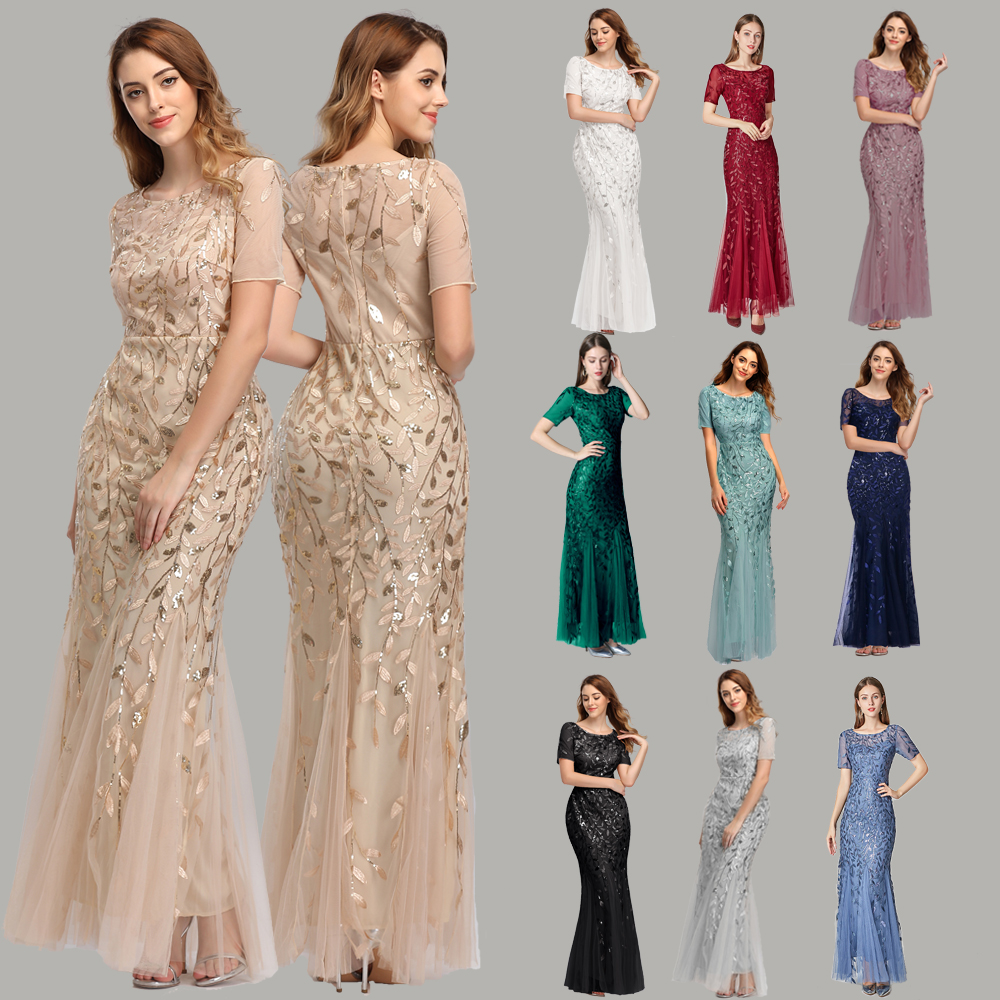 Plus Size Evening Dresses Mermaid O Neck Short Sleeve Lace Appliques Tulle Long Party Gown Robe Soiree Sexy Formal Dress vestido title=
