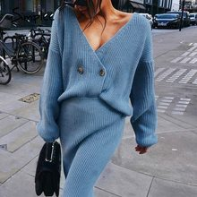 Simplee Sexy v-neck women knitted skirt suits Autumn winter batwing sleeve 2 pieces Elegant party female sweater blue dress 2020