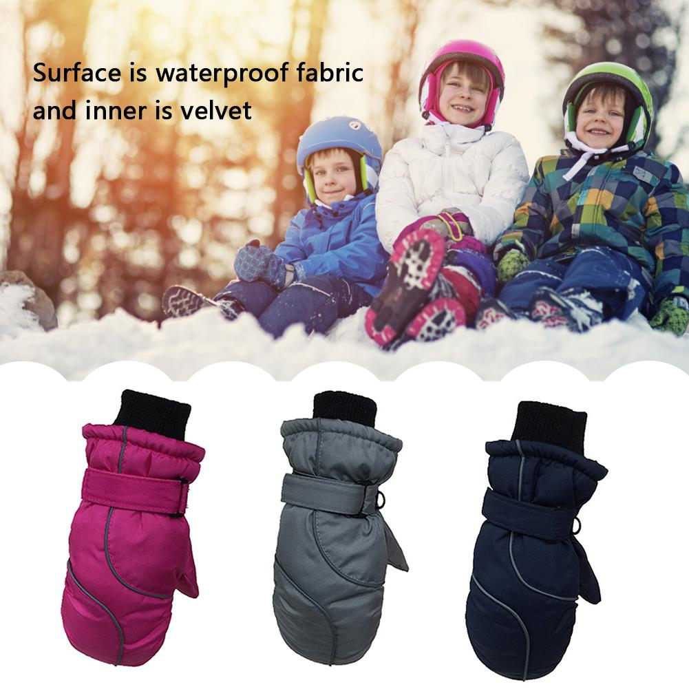 Boys and girls ski gloves winter outdoor velvet thickening waterproof skating childrens skating sports gloves