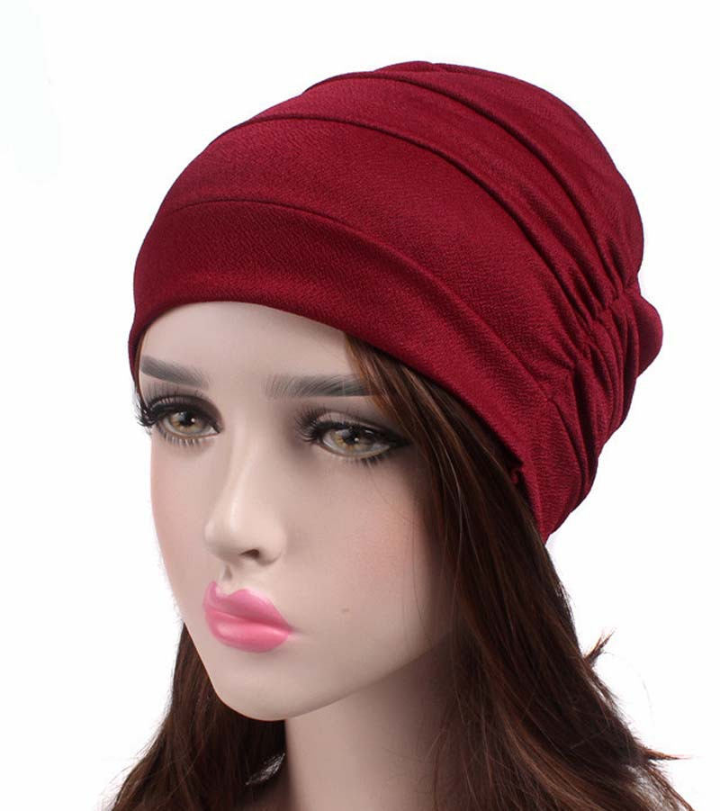 New Style Pleated Set of Head Cap Bottoming Hood Chemotherapy Cap Nightcap TJM-241