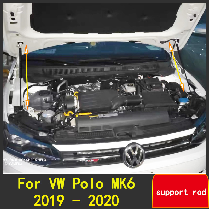 Fit For VW Polo 2019 2020 AW MK6 Refit Bonnet Hood Gas Spring Shock Lift Strut Bars Support Hydraulic Rod Car-Styleling