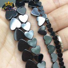 Preto amor coração hematite pedra natural contas soltas espaçador grânulos para fazer jóias diy brincos pulseira acessórios 15inches inches polegadas
