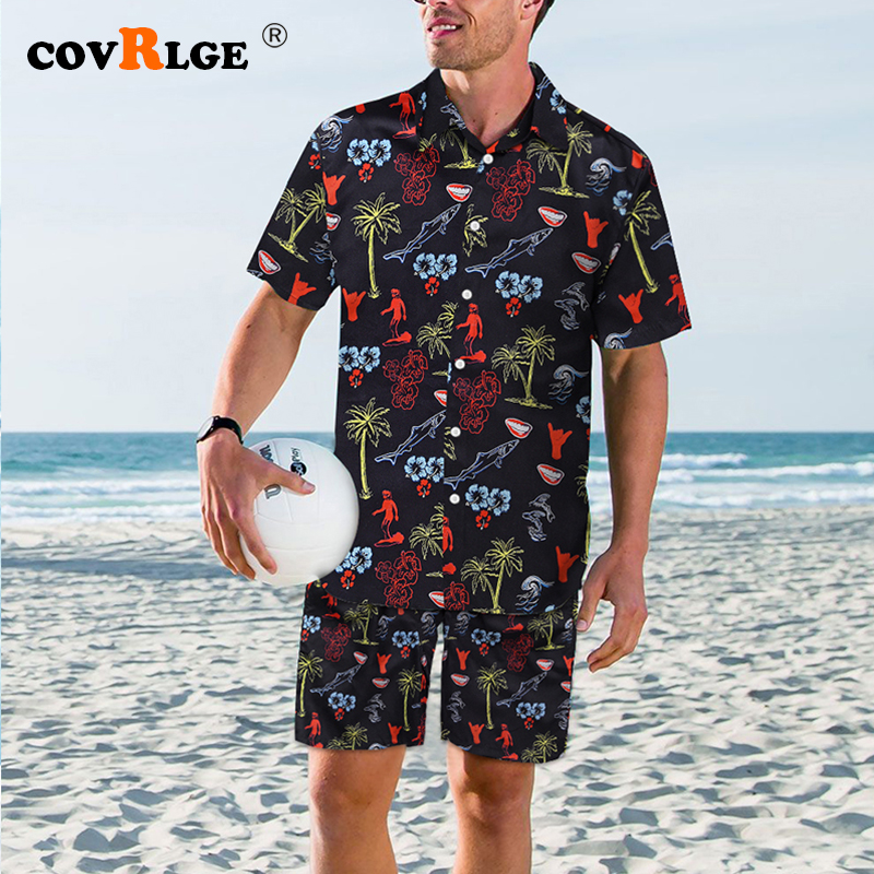 CovrlgeFashion Shorts Set Men Summer 2pc Tracksuit Short SweatShirt + Shorts Sets Beach Mens Casual Quick-drying Swimsuit MSX012