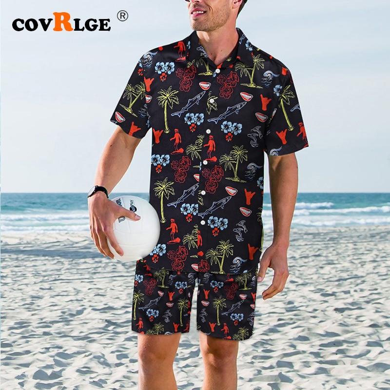 CovrlgeFashion Shorts Set Men Summer 2pc Tracksuit Short SweatShirt + Shorts Sets Beach Mens Casual Quick-drying Swimsuit MSX012