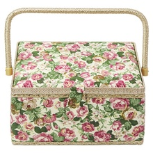Sewing Basket With Rose Floral Print Design- Sewing Kit Storage Box With Removable Tray, Built-In Pin Cushion And Interior Pocke цена 2017