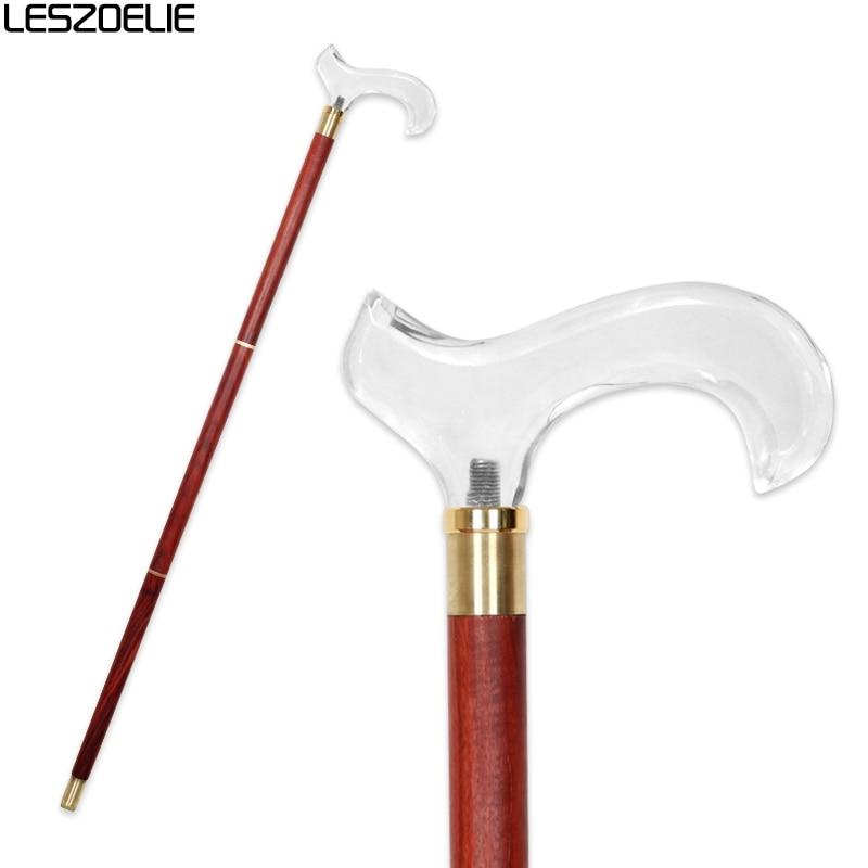 Wooden Walking Stick Men Luxury Transparent Handle With Red Cane Women Elegant Decorative Walking Stick Vintage Walking Canes