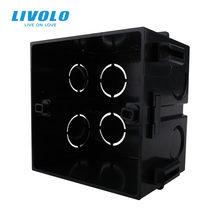 Livolo – boîte de montage interne Standard britannique, matières plastiques noires, pour interrupteur mural d'éclairage 86mm x 86mm