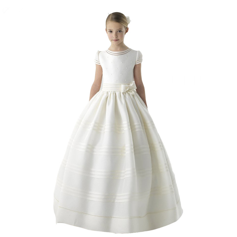 Flower Girl Dress 2020 First Communion Dresses For Girls Short Sleeve Belt With Flowers Customized Girl Dresses For Wedding