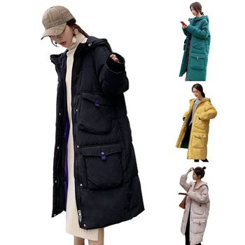 Women Winter Padded Puffer Coat Hooded 4 Pockets Solid Midi Long Parkas Jacket фото