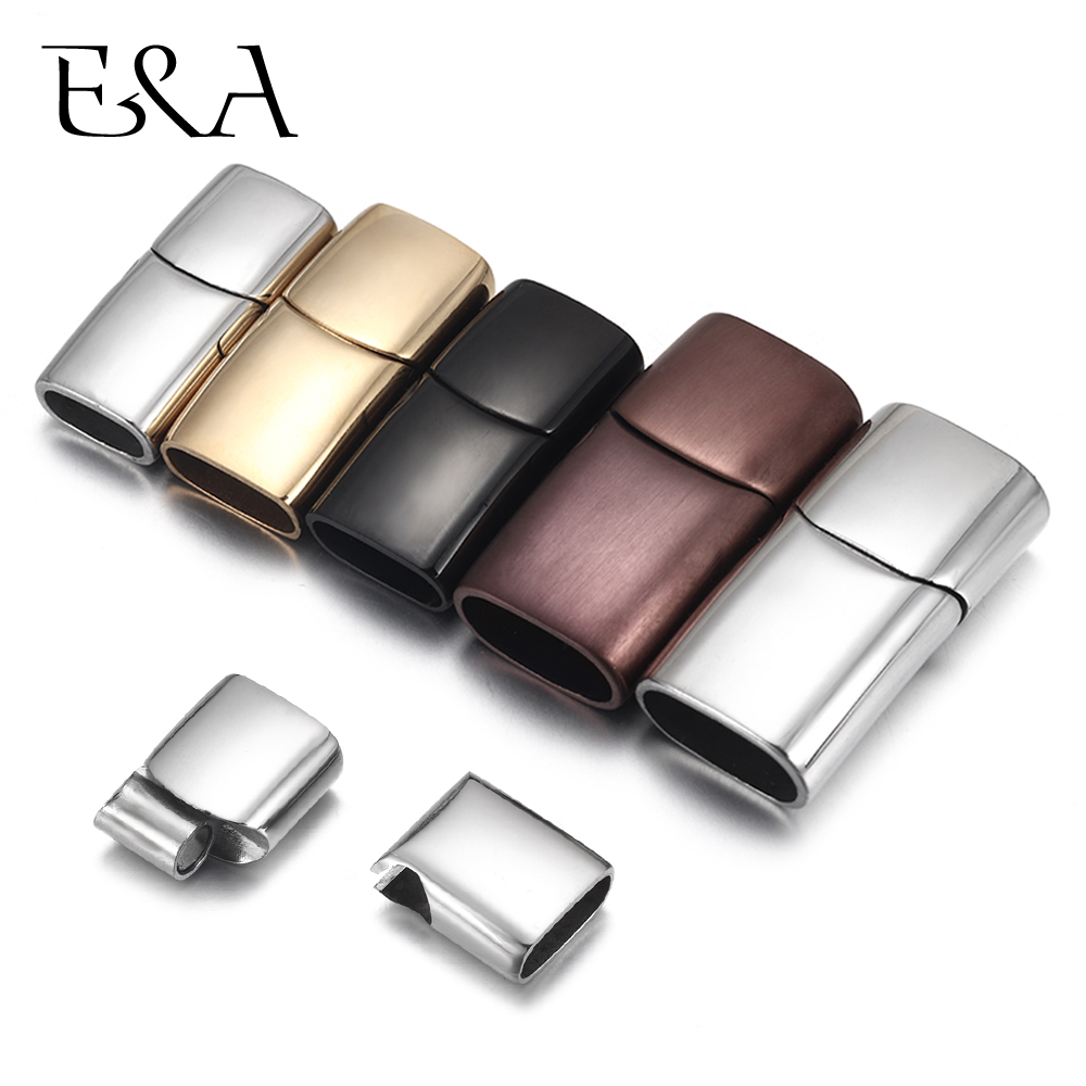 2sets Stainless Steel Magnetic Clasp Hole 8*4mm 10*5mm 12*6mm Leather Cord Magnet Lace Buckle For Bracelet Jewelry DIY Making