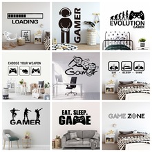 Create Gamer Wall Sticker Vinyl Mural Wallpaper For Kids Boys Room Decoration Decals Ps4 Gaming Poster Decor Door Stickers