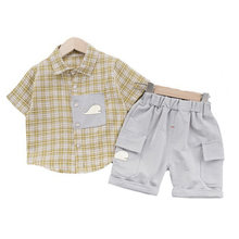 Summer Hot Sale Kids Clothing Sets Plaid Shirt+Shorts 2 Pcs Children's Clothing Casual Baby Boys Clothes Family Clothing Sets