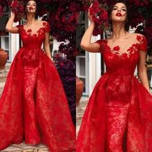 Красное кружевное вечернее платье с коротким рукавом 2020 длинное