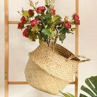 Household Storage Foldable Natural Seagrass Woven Storage Basket Pot Garden Flower Vase Hanging Wicker Basket Bellied Baskets|Hanging Baskets|   -