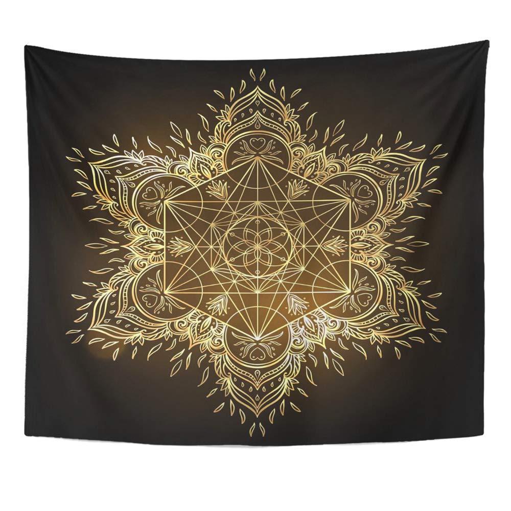 Mandala 50x60 Inches Mandala Round With Sacred Geometry Metatron Cube Powerful Symbol Flower Of Life Decor Wall Hanging