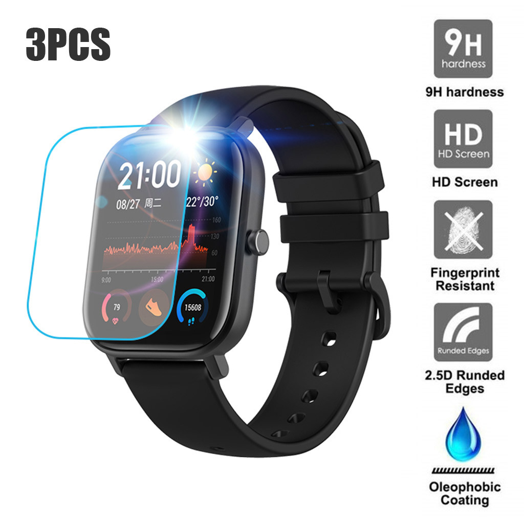 3PCS Clear Film 9H 2.5D Premium Screen Protector Film for AMAZFIT GTS Smart Watch Tempered Glass Screen Protector