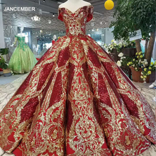 LSS124 luxury floor length queen prom dresses red curve shape ball gown golden lace evening party dresses glitter free shipping