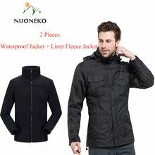 NUONEKO Mens Winter 2 Pieces Waterproof Jackets Outdoor Windbreaker Fishing Hiking Camping Skiing Coat 3 In 1 Fleece Jacket JM01