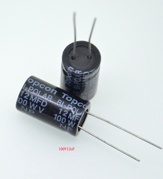 1pcs Acoustic speaker capacitor 12UF/100V frequency division dedicated non-polar vertical capacitor image
