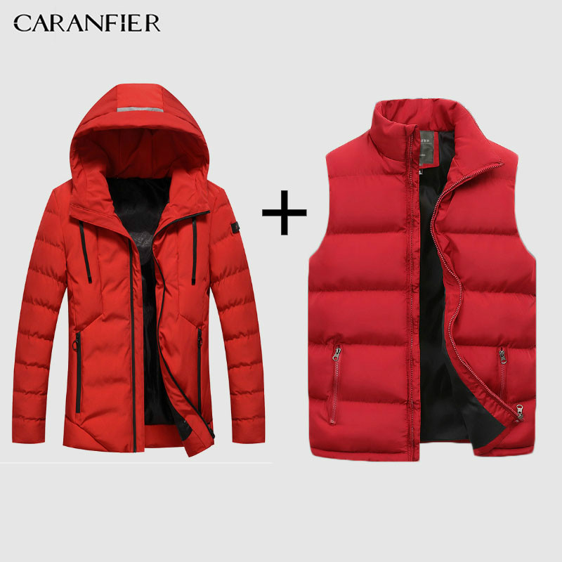 CARANFIER Parka Mens Drop Shipping Fashion Men Winter Jacket Coat Hooded Warm Mens Winter Coat Casual Slim Fit Male Overcoat