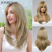 Jonrenau resistente ao calor longo natural onda cabelo sintético médio loira perucas de cabelo com franja para as mulheres brancas sem brilho fibra peruca