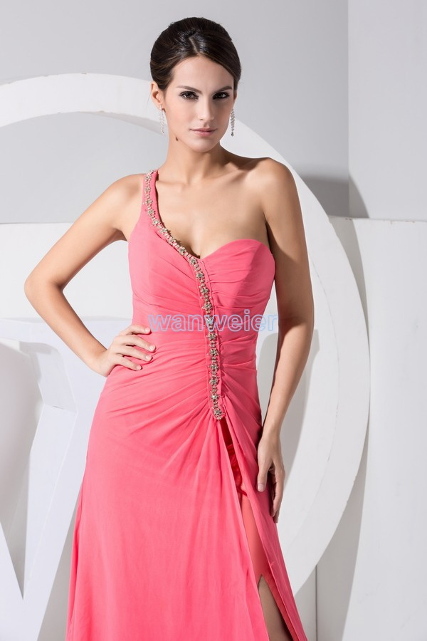 free shipping 2015 hot sexy new design one shoulder maxi dresses sweetheart long custom evening gown chiffon women prom dresses