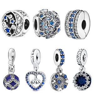 2019 Winter New 925 Sterling Silver Beads Blue Sky Sparkling Star Charms fit Original Pandora Bracelet Women DIY Jewelry(China)