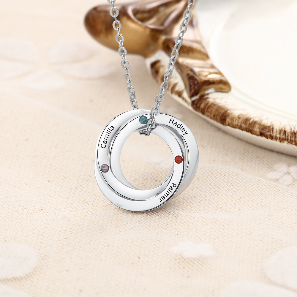 Circle Name Necklace with Birthstone Personalized Name Necklace Custom for Lover Friend gift
