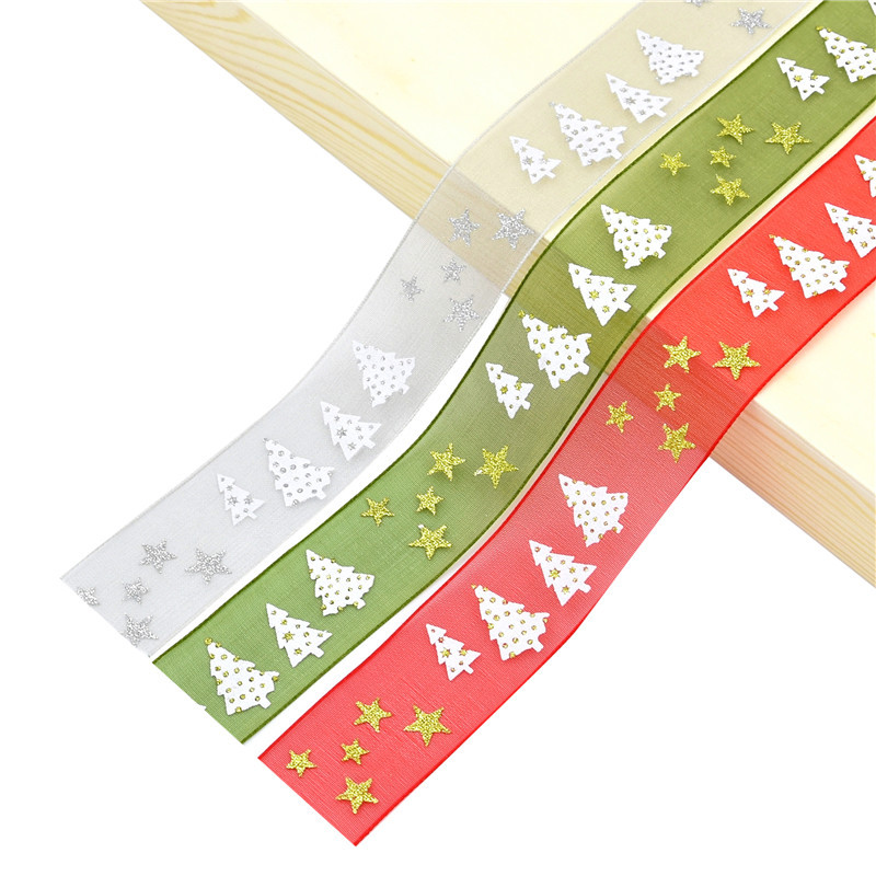 10/5m Organza Ribbon Christmas Series Grosgrain Satin Silk Ribbons DIY Bow Craft Gifts Wrapping Supplies