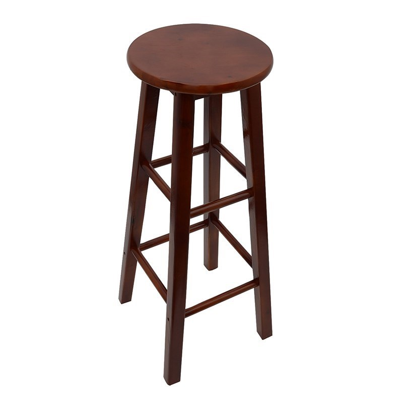 All Solid Wood Bar Stool Chair Simple Fashion High   Long Leg Leisure  Dining  Round