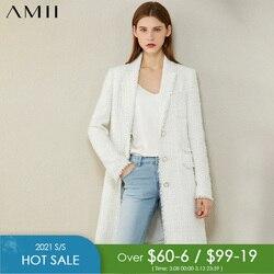 AMII Minimalism Autumn Winter Fashion Tweed Jacket Temperament Plaid Lapel Single-breasted Long Blazer Women Coat 12070378