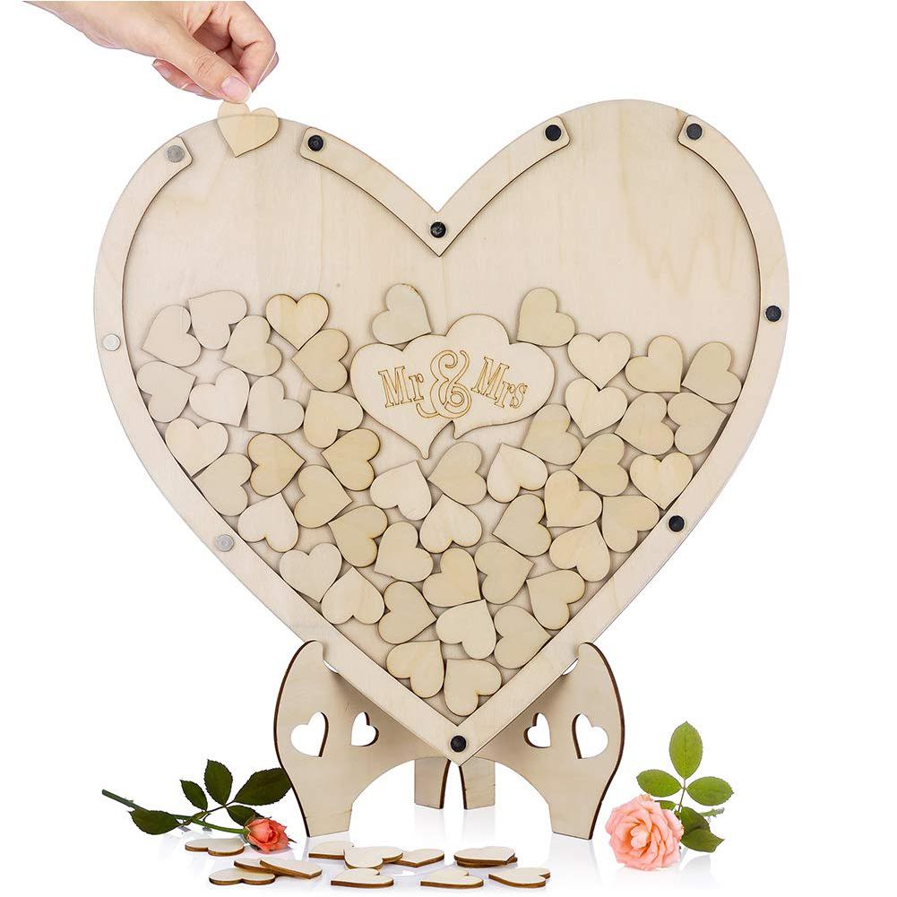 HiMISS Loving Heart Shape Wooden Tabletop Guest Book Message Pad For Wedding Party
