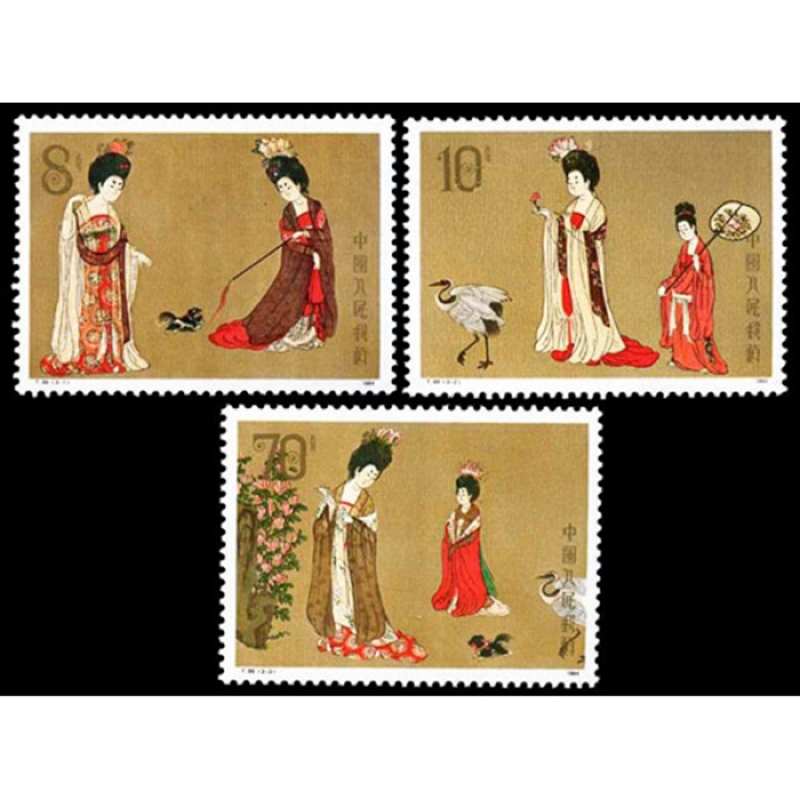 3 pcs set nova china post stamp 1984 t89 pintura chinesa da dinastia tang mulher bonita