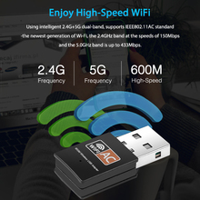 Kebidu 2.4Ghz/5.8Ghz USB bezprzewodowy/WiFi Adapter AC dwuzakresowy 600 mb/s Mini karta sieciowa USB2.0 wspornik adaptera Wi-fi 802.11b/n