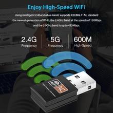 Kebidu 600 mb/s bezprzewodowa karta sieciowa Mini USB 2.4 + 5.8Ghz dwuzakresowy Adapter WiFi antena odbiornik PC na PC dla Mac Windows XP