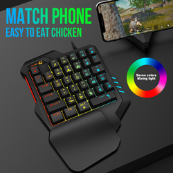 K1/K13/K19 USB przewodowa jednoręczna wrażenie mechaniczne klawiatura do gier Rainbow kolorowe 35 klawiszy podświetlana klawiatura RGB dla PUBG Mobile